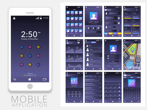 Different Mobile User Interface Screens with Smartphone presentation.