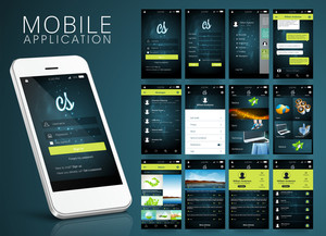 Different Web or Mobile Application Screens with Smartphone presentation showing login feature.