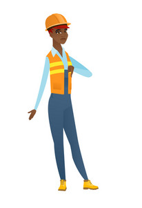 Disappointed african-american builder with thumb down. Full length of young builder showing thumb down. Young builder with her thumb down. Vector flat design illustration isolated on white background