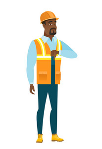 Disappointed african-american builder with thumb down. Full length of young builder showing thumb down. Young builder with his thumb down. Vector flat design illustration isolated on white background