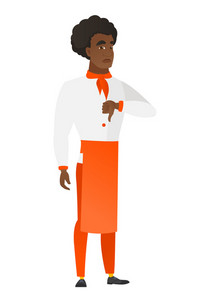 Disappointed african-american chef cook with thumb down. Full length of chef cook showing thumb down. Young chef cook with his thumb down. Vector flat design illustration isolated on white background.