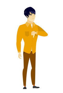 Disappointed asian business man with thumb down. Full length of businessman showing thumb down. Young business man with his thumb down. Vector flat design illustration isolated on white background.