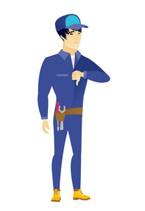 Disappointed asian mechanic with thumb down. Full length of mechanic showing thumb down. Young mechanic with his thumb down. Vector flat design illustration isolated on white background.