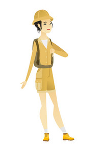 Disappointed asian traveler with thumb down. Full length of female traveler showing thumb down. Young traveler with her thumb down. Vector flat design illustration isolated on white background.