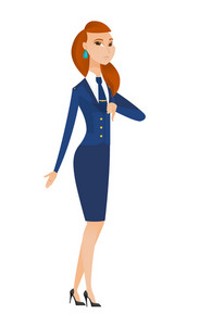 Disappointed caucasian stewardess with thumb down. Full length of stewardess showing thumb down. Young stewardess with her thumb down. Vector flat design illustration isolated on white background.