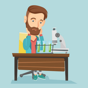 Disappointed caucasian student carrying out experiment in chemistry class. Hipster student clutching head after failed experiment in chemistry class. Vector flat design illustration. Square layout.