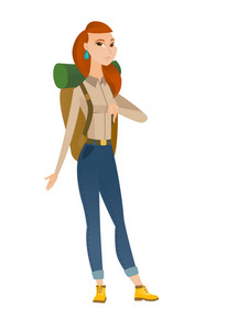 Disappointed caucasian traveler woman with thumb down. Full length of traveler showing thumb down. Young traveler with her thumb down. Vector flat design illustration isolated on white background.