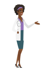 Doctor with arm out in a welcoming gesture. Full length of welcoming young african doctor in medical gown. Doctor doing a welcome gesture. Vector flat design illustration isolated on white background.