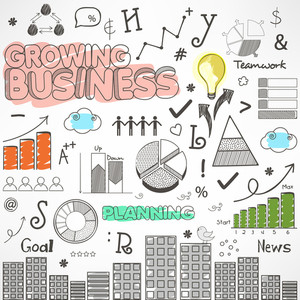 Doodle art infographic elements of business