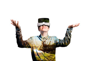 Double exposure. Beautiful woman wearing virtual reality goggles stretching arms. Sunny nature. Grass, trees and stream. Isolated.