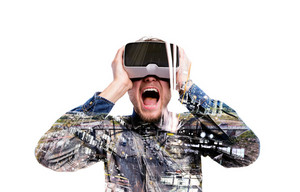 Double exposure. Hipster man in denim shirt wearing virtual reality goggles. Holding head, screaming. Highway. City. Isolated.