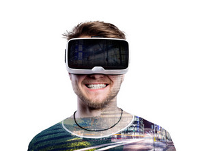 Double exposure. Hipster man wearing virtual reality goggles. City at night. Isolated.