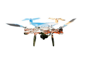 Double exposure. Hovering drone and roofs of buildings in the city. Bratislava, Slovakia. Aerial view. Isolated.