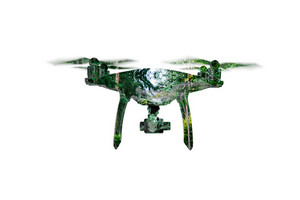 Double exposure. Hovering drone taking pictures of green trees. Aerial view. Isolated.