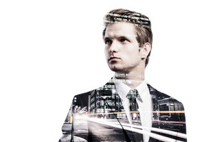 Double exposure of young handsome businessman. Studio shot on white background.