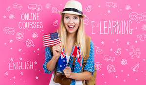 E-Learning theme with young woman with flags of English speaking countries