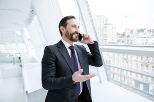 Elderly bearded business man talking at phone, standing near the window and looking away
