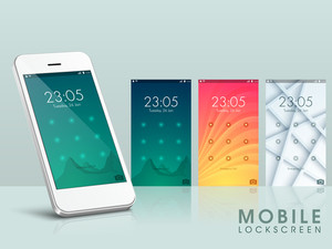 Elegant different Mobile User Interface Lock screens with smartphone presentation.