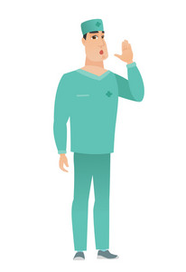 Embarrassed caucasian doctor calling for help. Full length of doctor in uniform calling for help. Doctor in trouble calling for help. Vector flat design illustration isolated on white background.