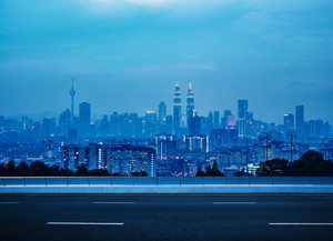 empty asphalt road and cityscape skyline , night scene scene