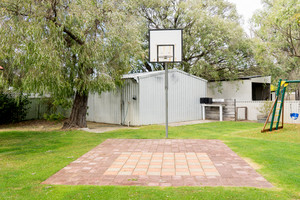 Empty basketball court in garden