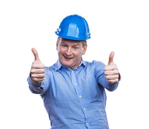 Engineer in blue hard hat. Studio shot on white background.