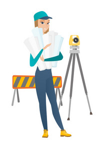 Engineer standing with blueprint at construction site. Engineer holding twisted blueprint on the background of road barrier and theodolite. Vector flat design illustration isolated on white background