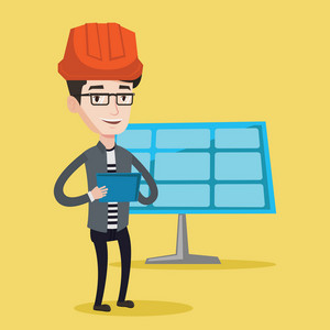Engineer working on digital tablet at solar power plant. Worker with tablet computer at solar power plant. Worker in hard hat checking solar panel setup. Vector flat design illustration. Square layout