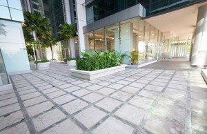 entrance of modern office building , wide angle lens .