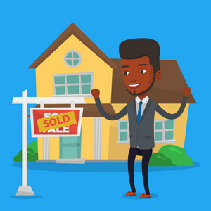Excited african-american real estate agent standing in front of sold real estate placard and house. Professional successful real estate agent sold house. Vector flat design illustration. Square layout