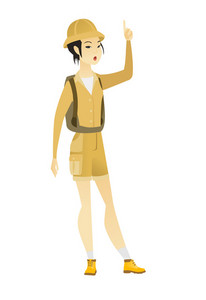 Excited asian traveler with open mouth pointing finger up. Full length of young traveler with open mouth came up with successful idea. Vector flat design illustration isolated on white background.