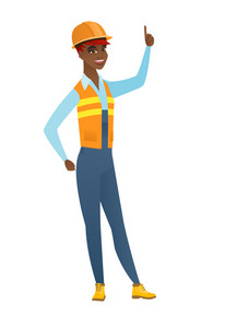 Excited builder pointing with her finger. Full length of african-american builder pointing her finger up. Builder with finger pointing up. Vector flat design illustration isolated on white background.