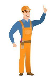 Excited builder pointing with his finger. Full length of caucasian builder pointing his finger up. Young builder with finger pointing up. Vector flat design illustration isolated on white background.