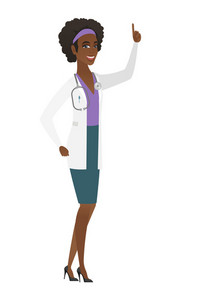Excited doctor in medical gown pointing with her finger. Full length of doctor pointing her finger up. Doctor with finger pointing up. Vector flat design illustration isolated on white background.