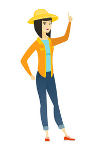 Excited farmer pointing with her finger. Full length of asian farmer in summer hat pointing her finger up. Farmer with finger pointing up. Vector flat design illustration isolated on white background.