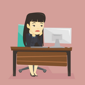 Exhausted bored asian employee sitting at workplace in front of computer in office. Overworked tired employee working with her head propped on hand. Vector flat design illustration. Square layout.
