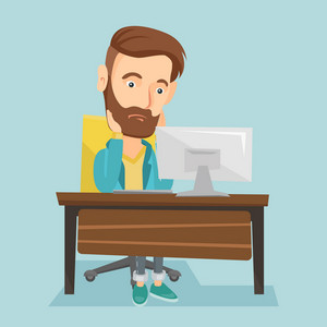 Exhausted caucasian employee sitting at workplace in front of computer in office. Overworked tired employee working with his head propped on hand. Vector flat design illustration. Square layout.