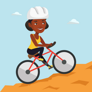 Extreme african-american woman riding on mountain bike. Young confident female tourist in helmet traveling in the mountains on a mountain bicycle. Vector flat design illustration. Square layout.