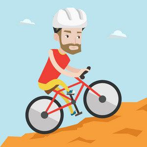 Extreme hipster man with the beard riding on mountain bike. Young confident man tourist in helmet traveling in the mountains on a mountain bicycle. Vector flat design illustration. Square layout.