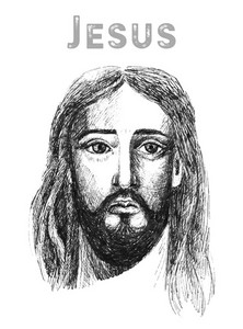 Face of Jesus Christ, low poly watercolor vector illustration.
