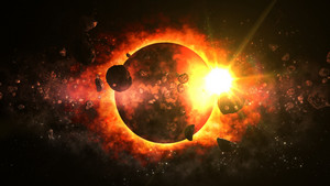 Fantastic Dead Planet surrrounded with Asteroids