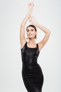 Fashion woman in dress. white background