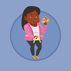 Fat african woman with slice of pizza in hand measuring a waistline. Fat woman eating pizza and measuring a waistline with tape. Vector flat design illustration in the circle isolated on background.