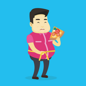 Fat asian man with slice of pizza in hand measuring a waistline. Sad fat man measuring a waistline with tape. Fat man with centimeter on waistline. Vector flat design illustration. Square layout.