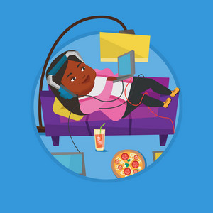 Fat woman relaxing on sofa with many gadgets. Woman lying on a sofa surrounded by gadgets and fast food. Plump woman using gadgets. Vector flat design illustration in the circle isolated on background