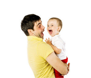 Father hugging and playing with his son isolated on white background