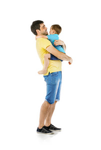 Father hugging with his son isolated on white background