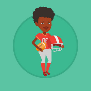 Female african-american rugby player holding ball and helmet in hands. Full length of young smiling female rugby player in uniform. Vector flat design illustration in the circle isolated on background