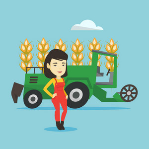 Female asian farmer standing on the background of combine harvester working in wheat field. Female farmer and combine harvester harvesting wheat. Vector flat design illustration. Square layout.