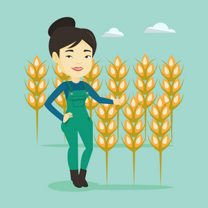 Female asian farmer standing on the background of wheat field. Smiling female farmer working in wheat field. Cheerful farmer checking wheat harvest. Vector flat design illustration. Square layout.